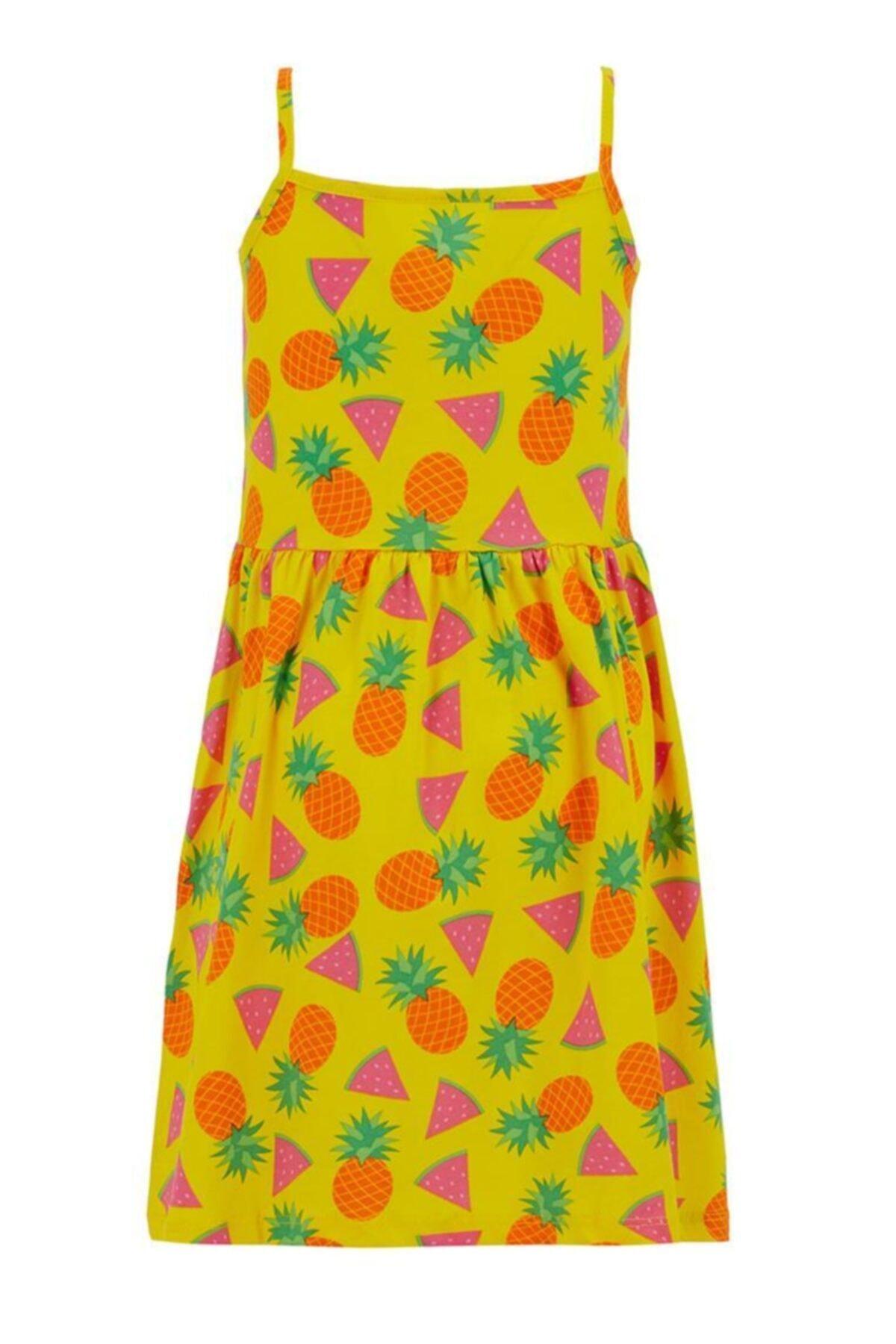 DeFacto Kız Çocuk Meyve Desenli Askılı Elbise 2