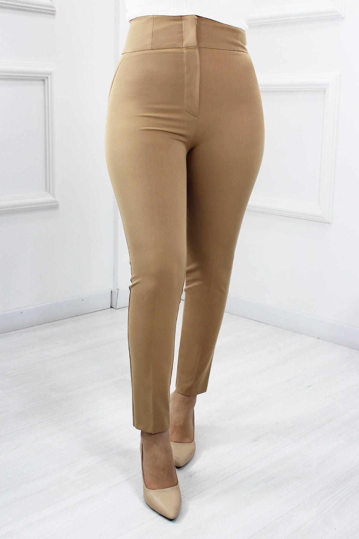 UGİMPOL Kadın Bej Yüksek Bel Pantolon 65297 1
