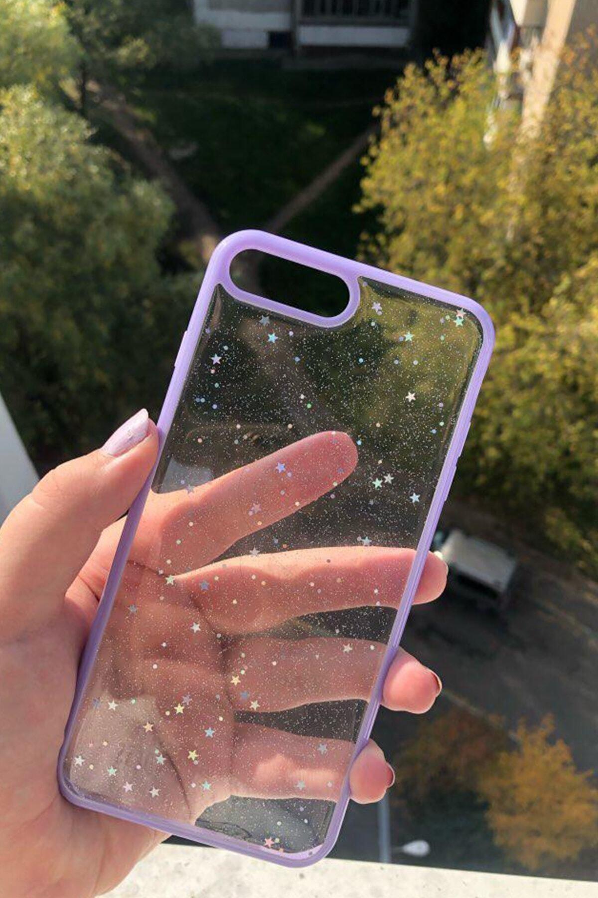 Telehome Iphone 7 Plus 8 Plus Sim Yıldızlı Lila Kenarlı Telefon Kılıfı 1