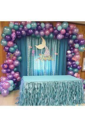 Parti Seza Deniz Kızı Konsept Metalik Balon Ve Balon Zinciri 100 Adet