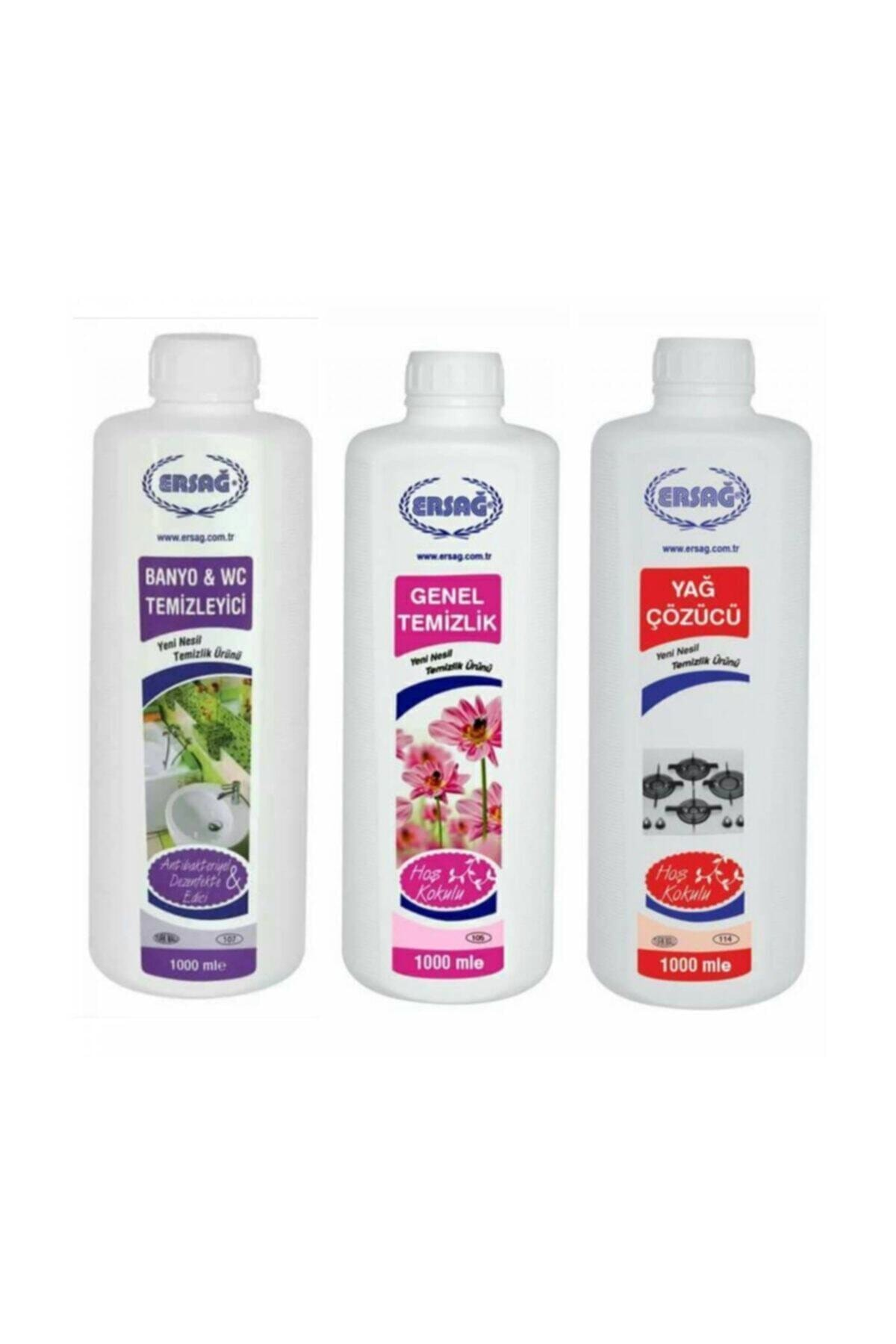 Ersağ Genel Temizlik + Antibakteriyel Banyo Wc+yağ Çöz 3'lü Set X 1000 ml 1