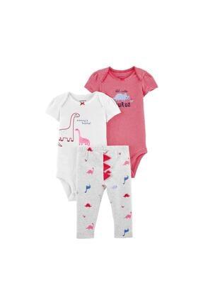 Carter's Kız Bebek Pembe Dinozor Desenli 3'lü Takım 1k116910