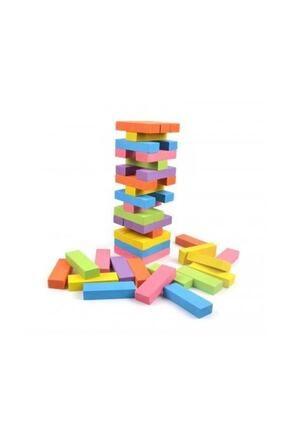 Jenga Renkli Büyük Boy Doğal Ahşap Denge Oyunu Kule Oyunu 54 Parça Renkli