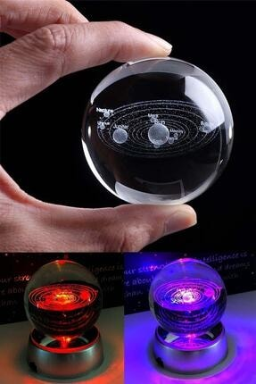 Patladı Gitti Samanyolu Güneş Sistemi Işıklı Cam Küre Işıklı Kristal Top 6 cm