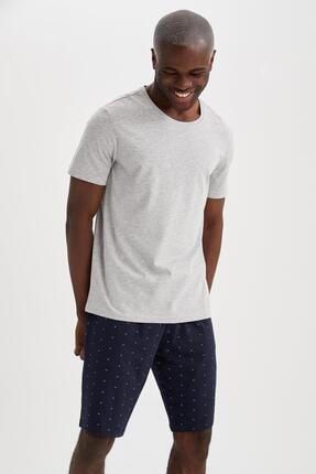 DeFacto Erkek Gri Regular Fit Pijama Takımı
