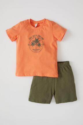 DeFacto Erkek Bebek Baskılı Pamuklu Kısa Kol Tişört Ve Şort Takımı