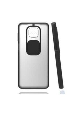 E TicaShop Xiaomi Redmi Note 9s / 9 Pro Kılıf Kamera Lens Korumalı Sürgülü Mat Lüx Kılıf Siyah