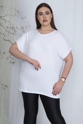 Şans Kadın Beyaz V Yakalı Düşük Kol Bluz 65N23546