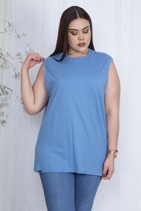 Şans Kadın Mavi Pamuklu Kumaş Geniş Kesim Oversize Kolsuz Bluz 65N23533