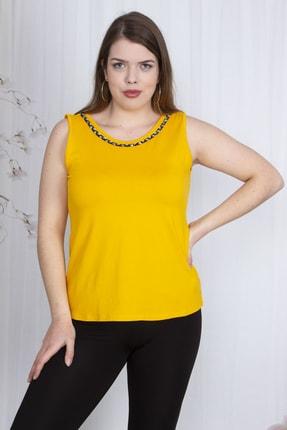 Şans Kadın Sarı Yaka Detaylı Kolsuz Viskon Bluz 65N23631
