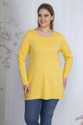 Şans Kadın Sarı Pamuklu Kumaş Bisiklet Yakalı Bluz 65N23586