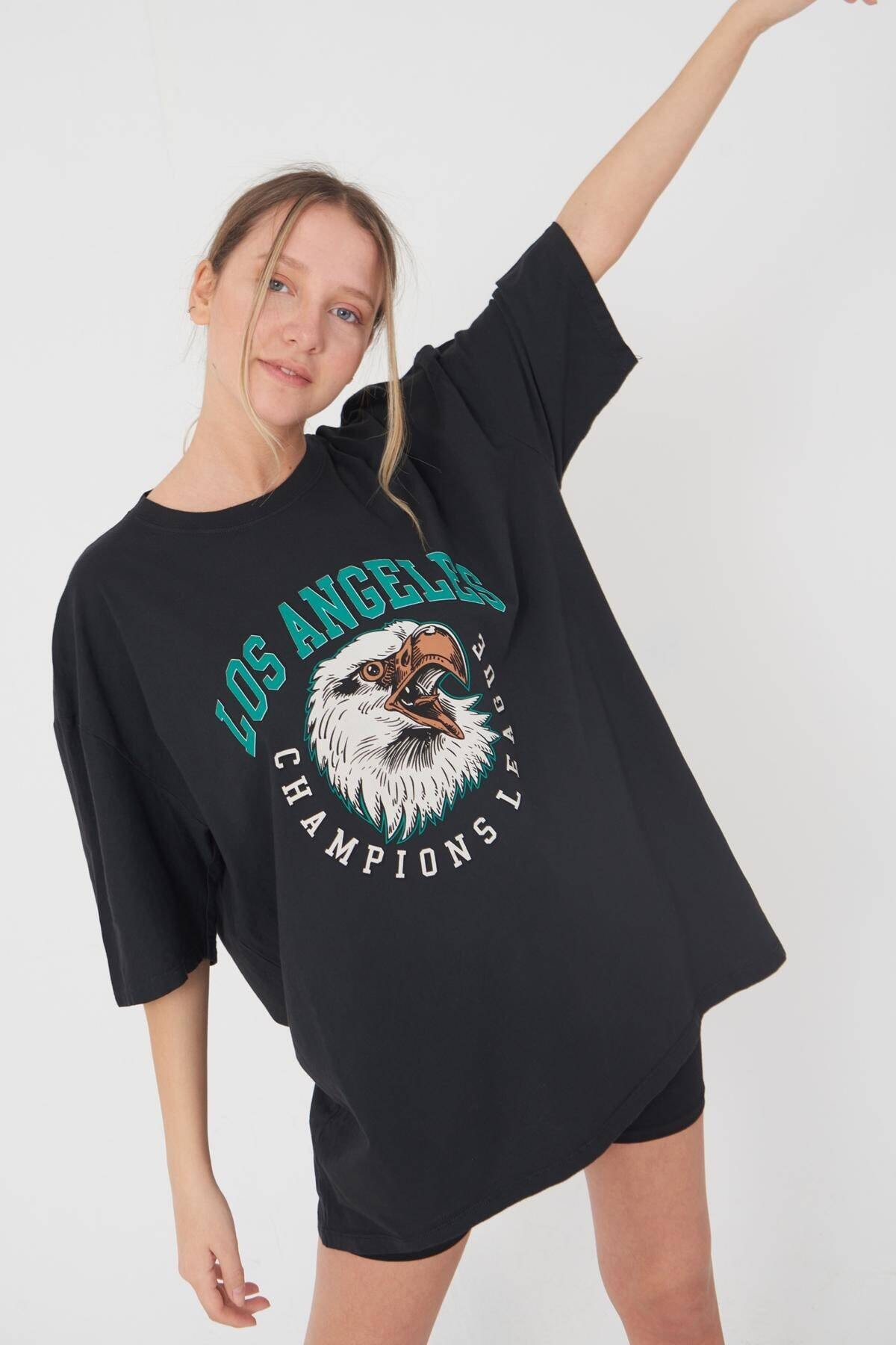 Addax Kadın Füme Baskılı T-Shirt P9420 - C5 Adx-0000022126