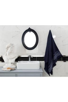 Madame Coco Elita Jakarlı Banyo Havlusu - Lacivert / Beyaz - 70x140 Cm