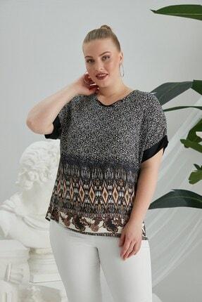 RMG Kadın Kahverengi Yaka Detaylı Büyük Beden Desenli Bluz