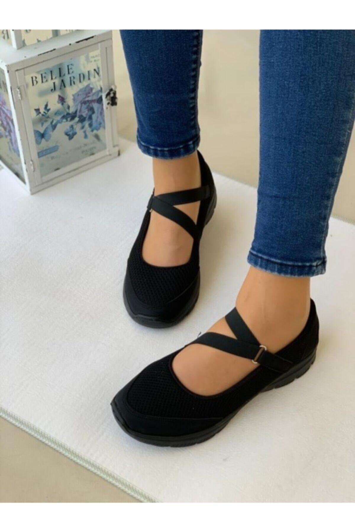 AYŞEM Kadın Siyah Ortopedik Günlük Ayakkabı 2