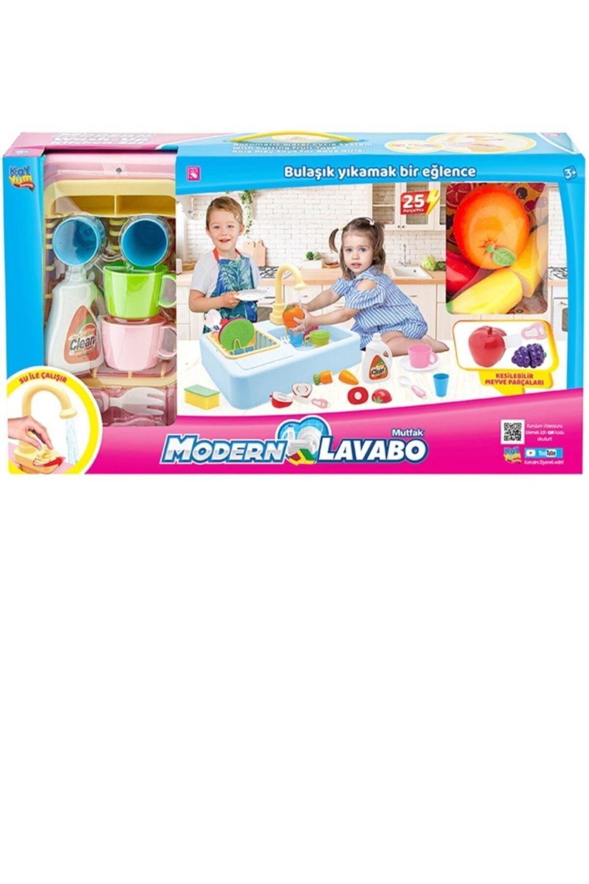 Kayyum Oyuncak Modern Çeşmeli Lavabo Seti Pilli Mutfak Oyuncak Seti 2