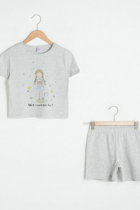 LC Waikiki Kız Çocuk Gri Melanj Ct3 Pijama Takımı