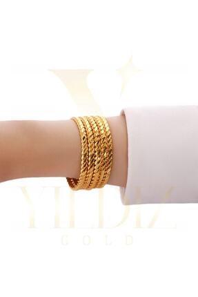 Yıldız Gold İmitasyon 22 Ayar Altın Kaplama 5 Li Adana Burma Bilezik