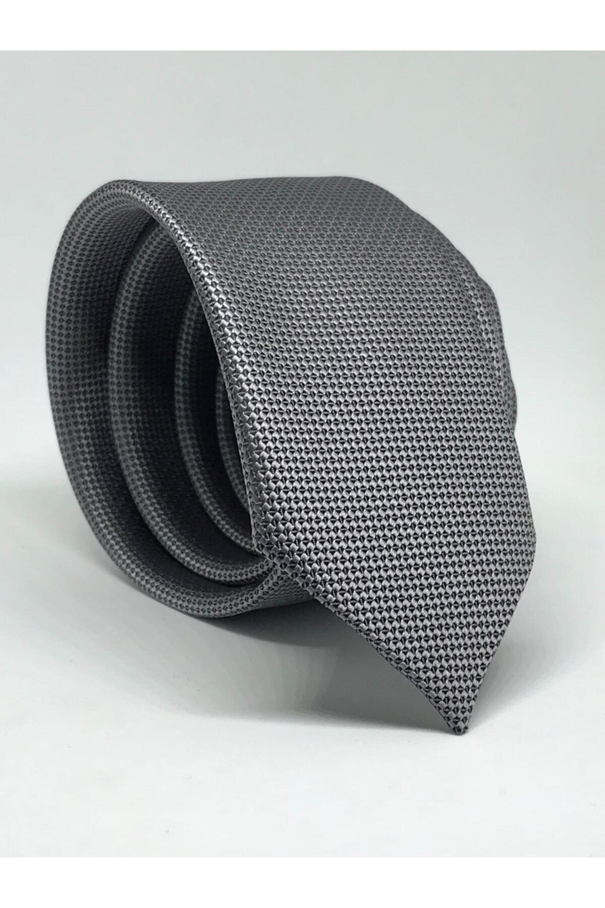 Bodily Gri Slim Fit Oxford Kuş Gözü Desen Kravat 1