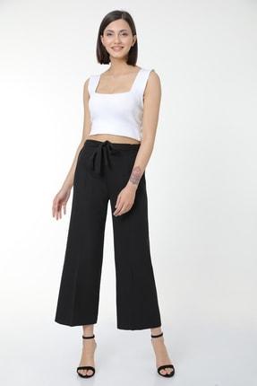 MD trend Kadın Siyah Bel Lastikli Kuşaklı Geniş Paça Rahat Pantolon