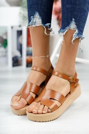 MUGGO Kadın Kahverengi Hakiki Deri Dolgu Topuk Sandalet Mghelen02