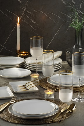 Porland Modern Altın Fileli  Yemek Ve Sunum Takımı 18 Parça