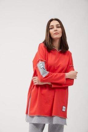 oia Kapüşonlu Mercan Renk Pamuklu Tunik Sweatshirt Eşofman Üstü