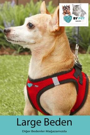BYPET Yeni Nesil Nefes Alabilen Kaçış Önleyici -reflektörlü Köpek Göğüs Tasması Seti Kırmızı-large