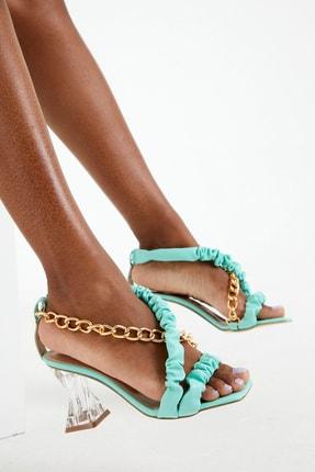 Modapigo Chain – Turkuaz Renkli Topuklu Ayakkabı