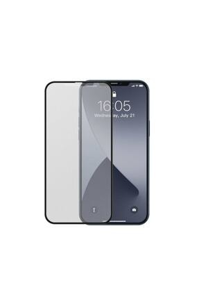 Baseus 2x Tam Ekran 0,25 Mm Çerçeveli Buzlu Temperli Cam Iphone 12 Mini Siyah