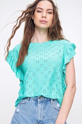 Trend Alaçatı Stili Kadın Yeşil Kolları Fırfırlı Fisto Örme Bluz ALC-X6211