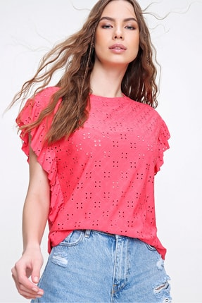 Trend Alaçatı Stili Kadın Mercan Kolları Fırfırlı Fisto Örme Bluz ALC-X6211