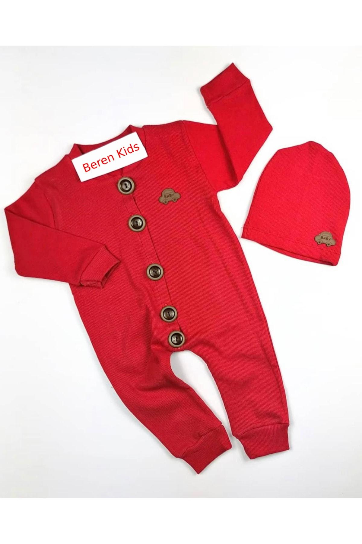 Beren Kids Araba Desenli Şapkalı Bebek Tulumu 1