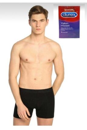 Tutku Erkek Siyah Likralı Elastan Boxer 10'lu Paket Durex Prezervatif