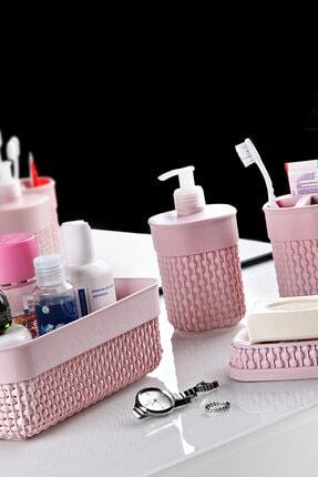 FERHOME 4'lü Banyo Seti Sıvı Sabunluk Deterjanlık Diş Fırçalık Katı Sabunluk Banyo Sepeti Düzenleyici