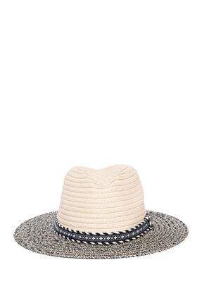 Mavi Şerit Detaylı Hasır Şapka