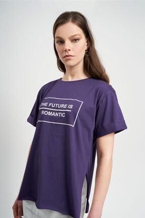 TENA MODA Kadın Mor The Future Yazılı  T-Shirt