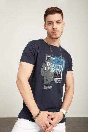TENA MODA Erkek Lacivert Bisiklet Yaka Beach Party Baskılı Tişört