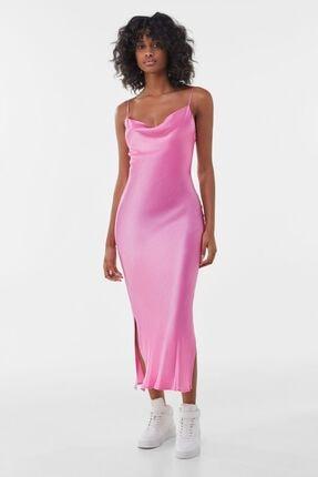 Bershka Saten Kamisol Midi Elbise
