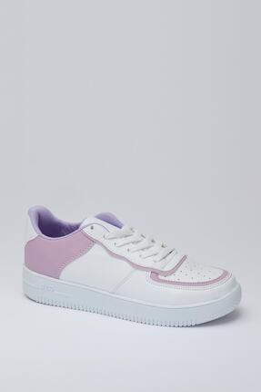MUGGO Kadın Lila Beyaz Sneaker