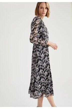 DeFacto V Yaka Volan Detaylı Kemerli Midi Elbise
