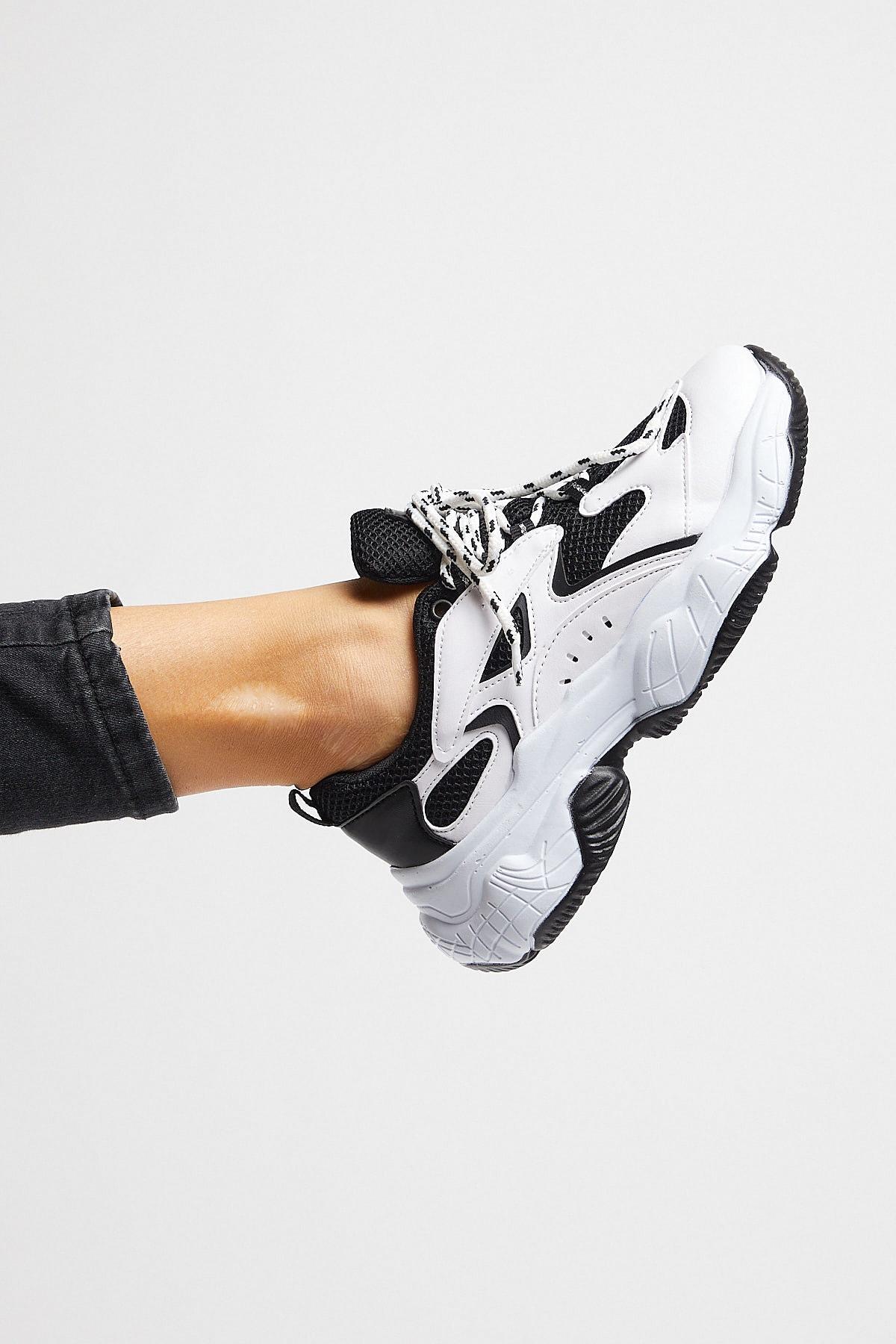 Tonny Black Bayan Spor Ayakkabı Siyah Beyaz Tb288 1