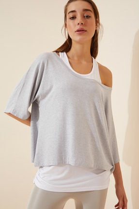 Happiness İst. Kadın Taş Grisi Atletli Salaş İkili T-shirt ZV00136