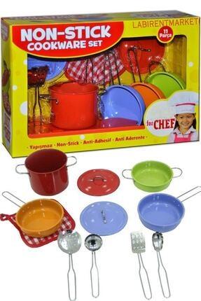 LABİRENTMARKET Rengarenk 11 Parça Paslanmaz Çelik Tencere Tava Seti Eğitici Çocuk Oyuncak Büyük Boy