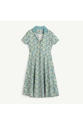 Yargıcı Kadın Yeşil Çiçekli Belden Kesikli Gömlek Elbise