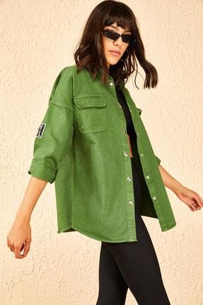 Bianco Lucci Kadın Kolu Armalı Kot Gömlek 10951001