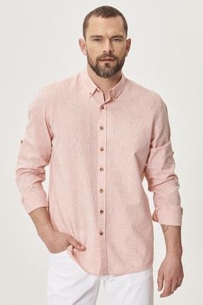 AC&Co / Altınyıldız Classics Erkek Yavruağzı Tailored Slim Fit Dar Kesim Düğmeli Yaka Keten Gömlek