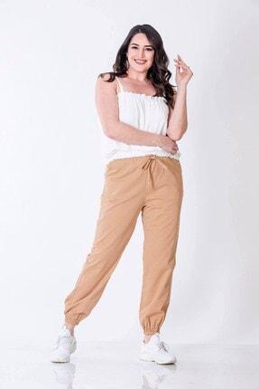 MYLİNE Kadın Bej Cep Detaylı Jogger Pantolon