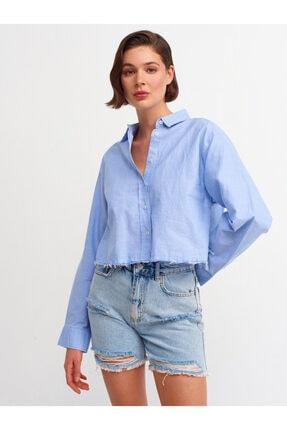 Dilvin Kadın  Açık Mavi Crop Gömlek i 5855