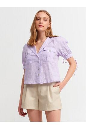 Dilvin Kadın Mor Ceket Yakalı Gömlek  5804